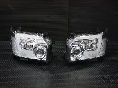 �W型LEDBAR プロジェクターヘッドライト【ハロゲン】 クロームインナー 【シーケンシャルウインカー】【レべライザー内蔵】