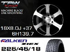 T.A.W Styling4 18X8.0J +37 MACHINE BLACK/LINE MACHINING+ファルケンZIEX 225/45/18 91W ホイール&タイヤ4本セット