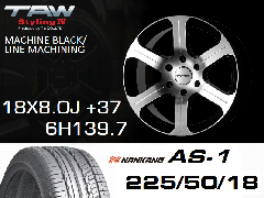 T.A.W Styling4 18X8.0J +37 MACHINE BLACK/LINE MACHINING+NANKANG AS1 225/50/18 95H ホイール&タイヤ4本セット