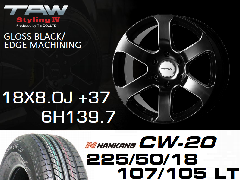 T.A.W Styling4 18X8.0J +37 GLOSS BLACK/EDGE MACHINING+NANKANG CW-20 225/50/18 107/105T D L T  ホイール&タイヤ4本セット