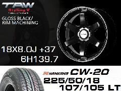 T.A.W Styling 5 18X8.0J +37 GLOSS BLACK/RIM MACHINING+NANKANG CW-20 225/50/18 107/105T D L T  ホイール&タイヤ4本セット