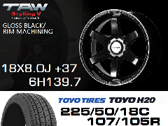 T.A.W Styling 5 18X8.0J +37 GLOSS BLACK/RIM MACHINING+TOYO H20 225/50/18C 107/105R ホイール&タイヤ4本セット