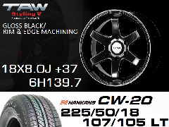 T.A.W Styling 5 18X8.0J +37 GLOSS BLACK/RIM & EDGE MACHINING+NANKANG CW-20 225/50/18 107/105T D L T  ホイール&タイヤ4本セット