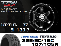 T.A.W Styling 5 18X8.0J +37 GLOSS BLACK/RIM & EDGE MACHINING+TOYO H20 225/50/18C 107/105R ホイール&タイヤ4本セット