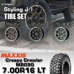 T.A.W Styling J-�T 16X5.5J +20 MAXXIS Creepy Crawler M8090 7.00R16 LT 【3色から選択】ホイール&タイヤ4本セット