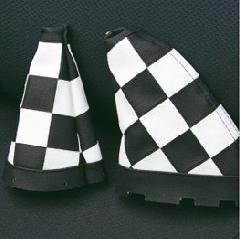 R60 シフトレバーブーツ・白黒チェッカー