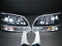 100K-013 後期型ワゴン ヘッド&ウィンカー 4点セット <ブラックインナー>