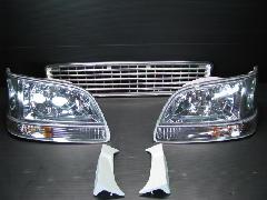 100K-014 後期型ワゴン ヘッド・ウィンカー・グリル5点キット <クロームインナー>