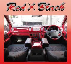 100T-025 100系ハイエース 赤ステッチ×黒レザー シートカバー