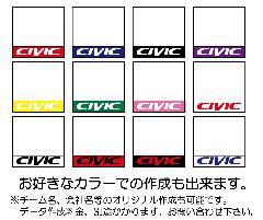 C-009 シビックゼッケン 全12タイプ 大サイズ2枚(ブロック体)