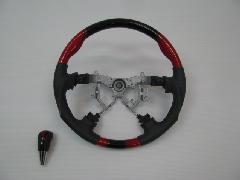 200I-020 200系ハイエース 赤×黒グラデーション ステアリング&シフトノブSET