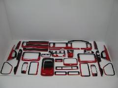 200I-043 200系ハイエース ワイド用 インテリアパネル33Pcs 赤×黒グラデーション