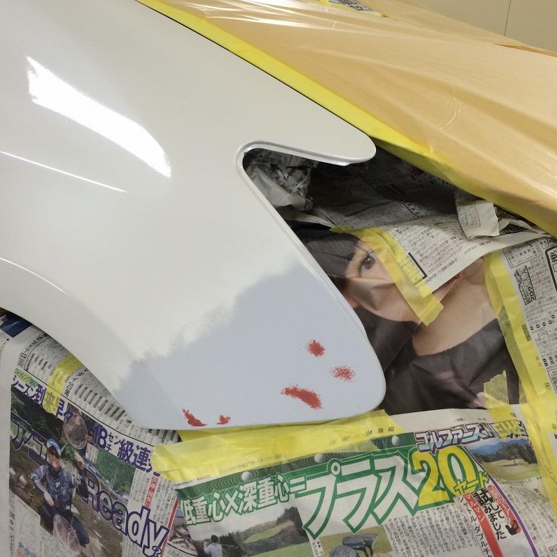 トヨタ プリウスフロントフェンダー 板金塗装 岡山県倉敷市