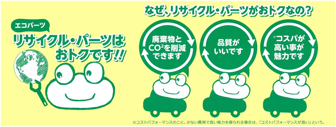 エコパーツ リサイクル・パーツはおトクです!!なぜ、リサイクル・パーツがおトクなの?廃棄物とCO2を削減できます。品質がいいです。コスパが高い事が魅力です。