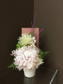紬ボードと大輪菊
