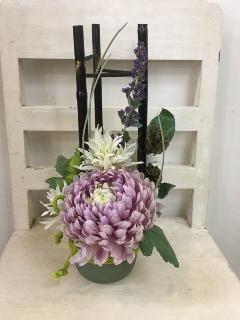 黒竹と大輪菊