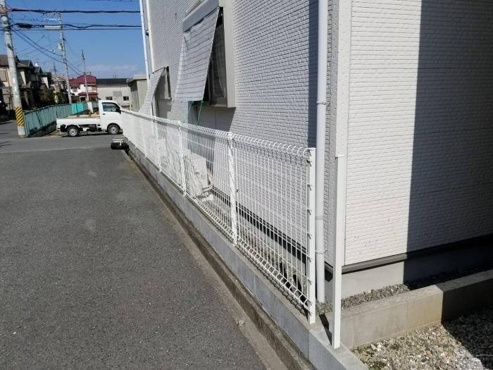 ブロック1段 フェンス設置