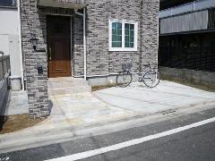 玄関前アプローチ 塀