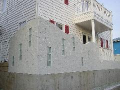 デザイン塀 ガラスブロック、乱形石貼り