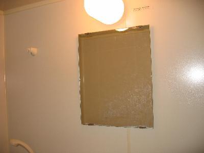 風呂場についてる鏡は水垢や白いウロコ状の汚れが付着