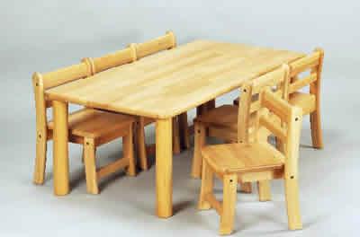 AE-59-cs 角テーブル120×60 丸脚43と幼児椅子26×6脚 室内家具・遊具