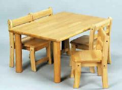 AE-58-cs 角テーブル90×60 丸脚43と幼児椅子26×4脚 室内家具・遊具