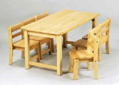 AE-60-cs 角テーブル120×60 角折43と幼児椅子26×6脚 室内家具・遊具