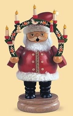 16131  サンタとキャンドル(中) 【ドイツの伝統工芸・お香・煙だし人形】