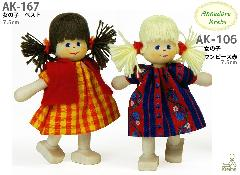 AK106 女の子 ワンピース赤(クレーブス人形)