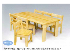 AE-60-es 120×60 角折 35と乳児椅子 20×6脚 H35cm