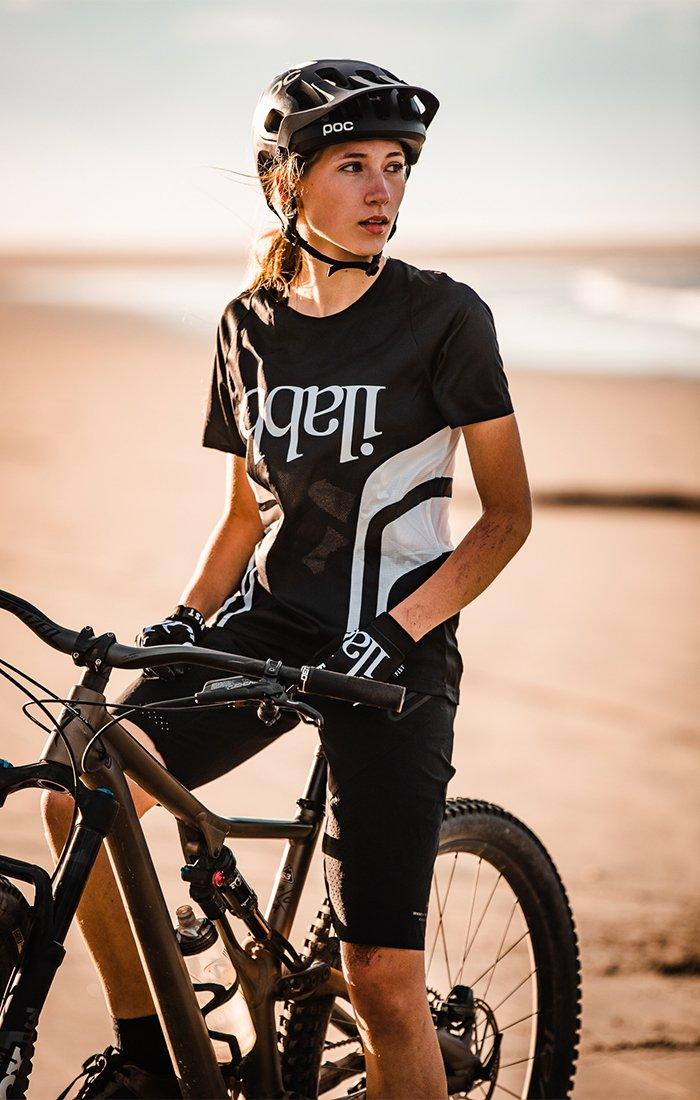 Don Race Tee Womens - Black/White ライドシャツ