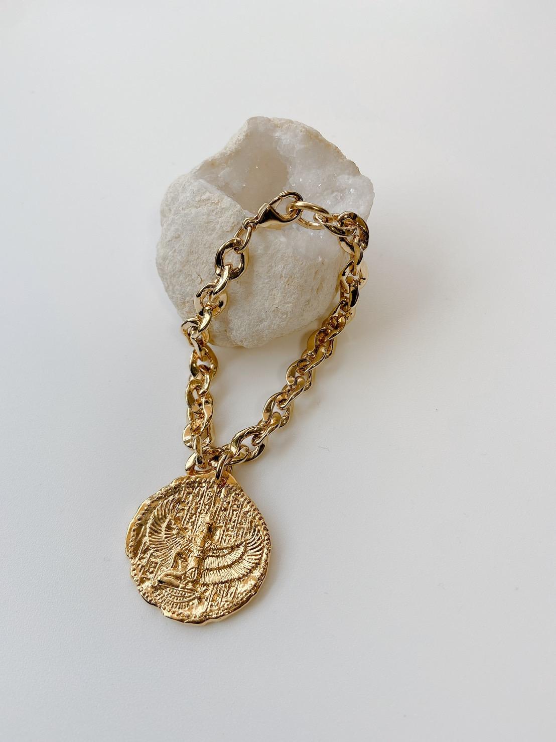 """Goddess Coin Braceket -7""""/Gold Coin"""