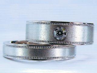 マリッジリング シンプル&ダイヤ  ミル&VS EX(H&C)ダイヤ