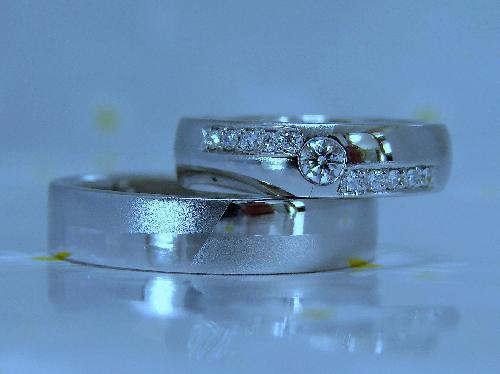マリッジリング セミラウンド&フラット マット&ミラー ダイヤモンドライン(ハート&キューピット)