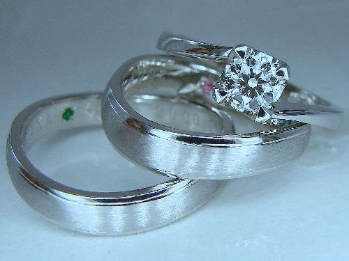 エンゲージリング&マリッジリング VVS−1 Dカラー トリプルEXダイヤモンド マリッジリング:Uラインマット&ミラー