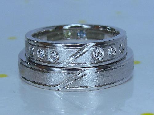 マリッジリング マット&ミラーオリジナルライン ダイヤモンド1/50ctVS(ハート&キューピット)