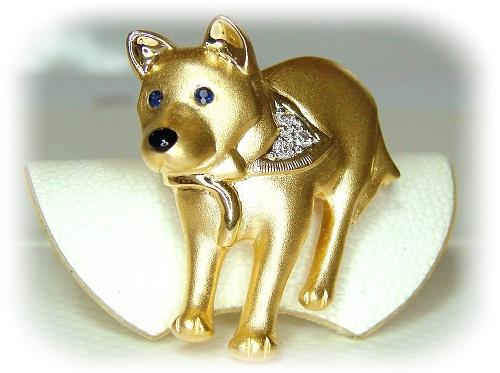 オーダーメイドジュエリー 可愛いペット・犬のブローチ