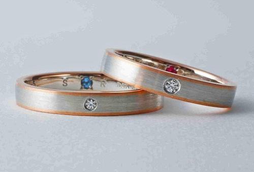 マリッジリング プラチナ/K18コンビネーションマリッジリングダイヤモンド(ハート&キューピット)