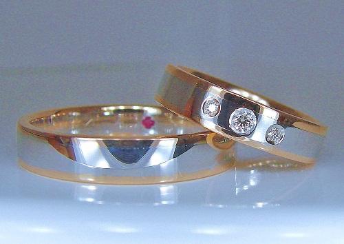 プラチナ/ピンクゴールドフラットダイヤモンド1/25ct 1/100ct2pcハート&キューピット