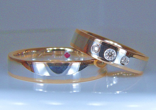 マリッジリング プラチナ/ピンクゴールドコンビネーション ダイヤモンド(H&C)