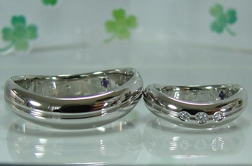 マリッジリング シンプル Uライン ダイヤモンド1/50ct 1/100ctVSハ-ト&キューピット