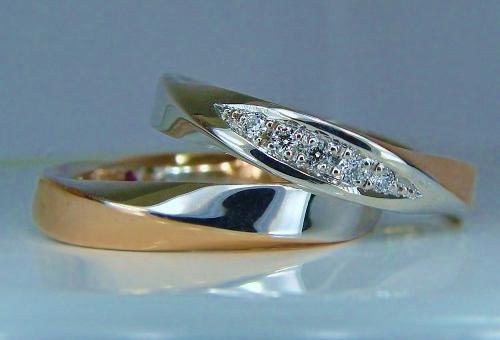 プラチナ ピンクゴールド スパイラルエタニティーダイヤモンド(1/100ct VS H&C)グラデーションセット