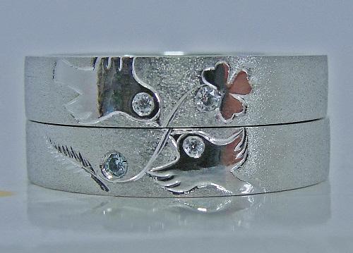 マリッジリング 重ねると文鳥&クローバーダイヤモンド&ブルーダイヤモンド