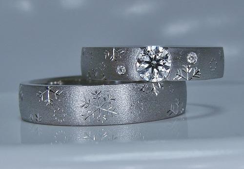 マリッジリング 雪の結晶エタニティー・エンゲージリング兼用・ダイヤモンド・0.323ct・VS-1・EXカットハート&キューピット