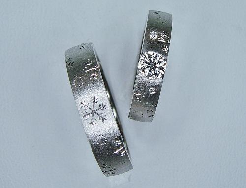 エンゲージダイヤモンド&マリッジリング兼用 雪の結晶エタニティー