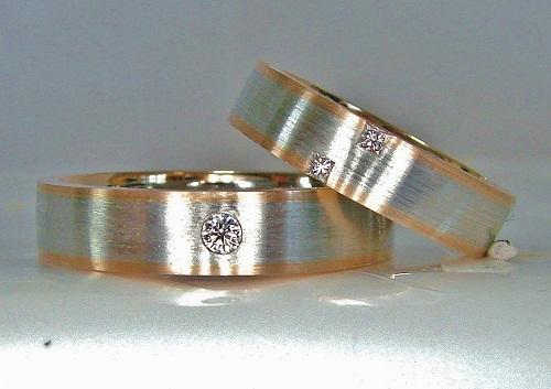 マリッジリング プラチナ/ピンクゴールド ヘアラインマット ダイヤモンド(プリンセス&ラウンド・H&C)