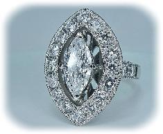 エンゲージリング・マーキスダイヤモンド、アンティクリバイバルミル打ちライン