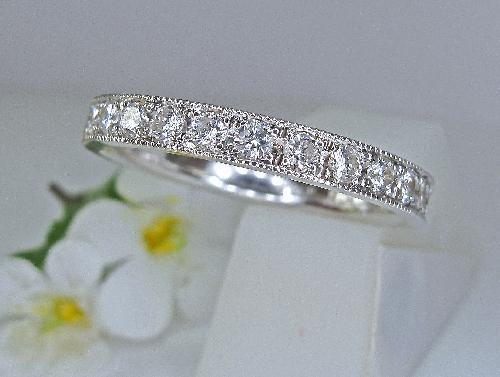 エタニティーリングダイヤモンドリング 彫留セット アンティーク技法ミル打ち