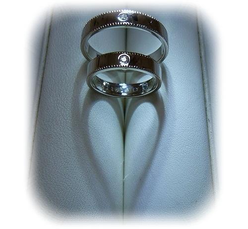 マリッジリング ミル打ち(アンティークの技法)ダイヤモンド・ハート&キューピットセット
