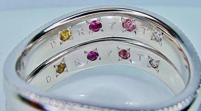 マリッジリング 内側デザイン ご家族4人の誕生石(シトリン・ルビー・ピンクトルマリン・ダイヤモンド)